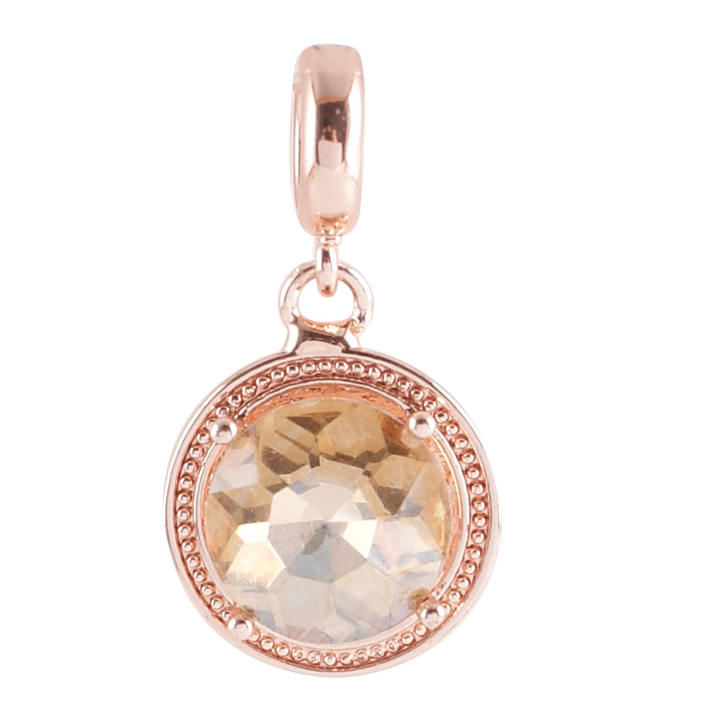 End Less Rhinestone Charms Drop - Rose Gold Round Beige