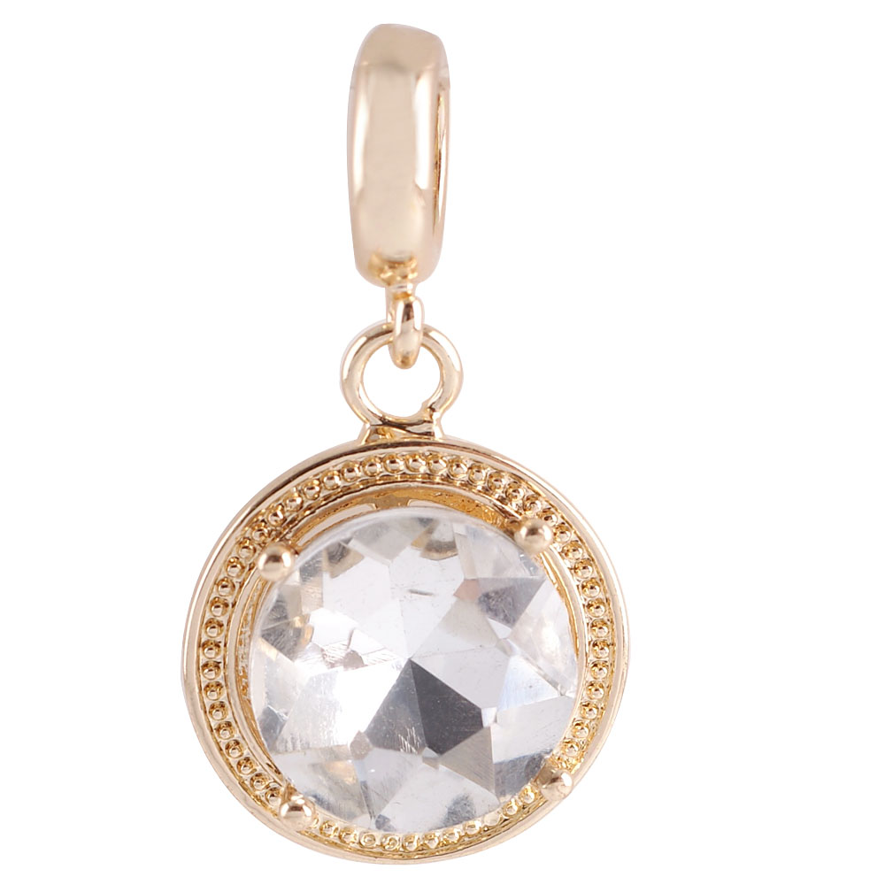 End Less Rhinestone Charms Drop - Gold Round Clear