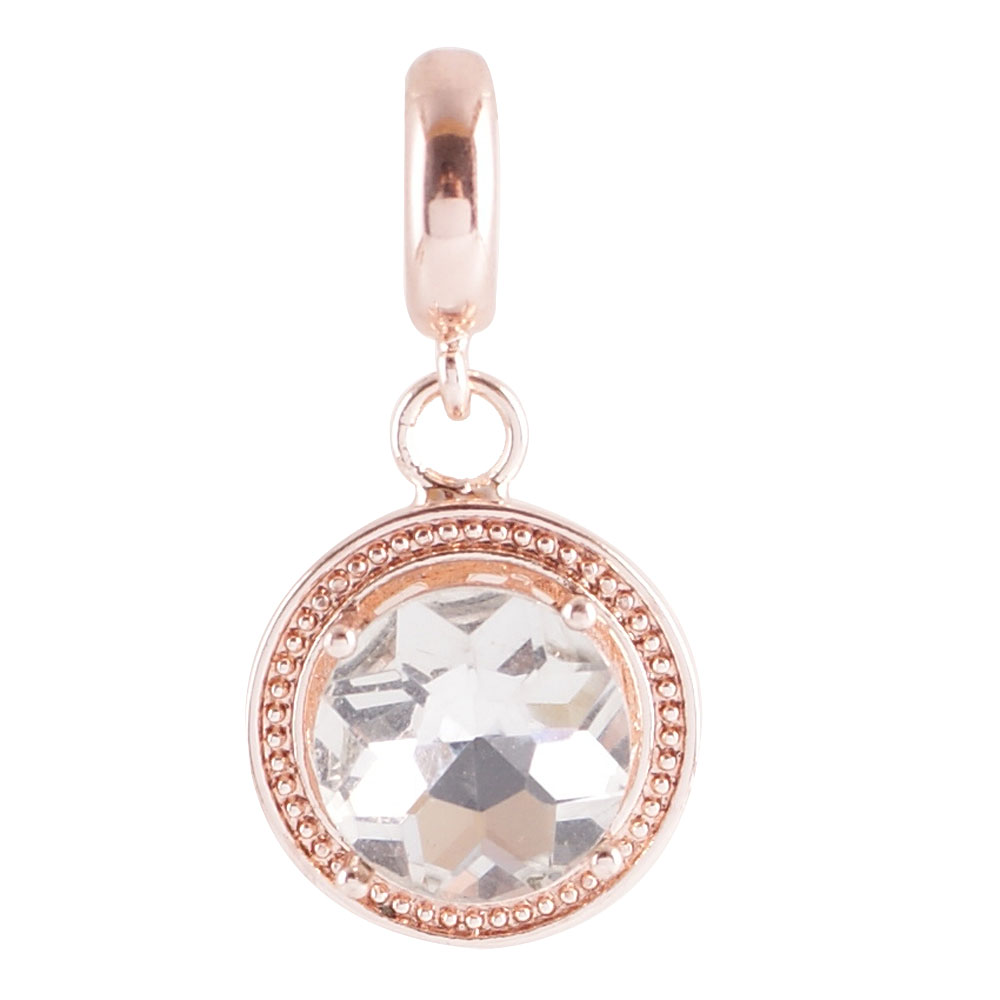 End Less Rhinestone Charms Drop - Rose Gold Round Clear