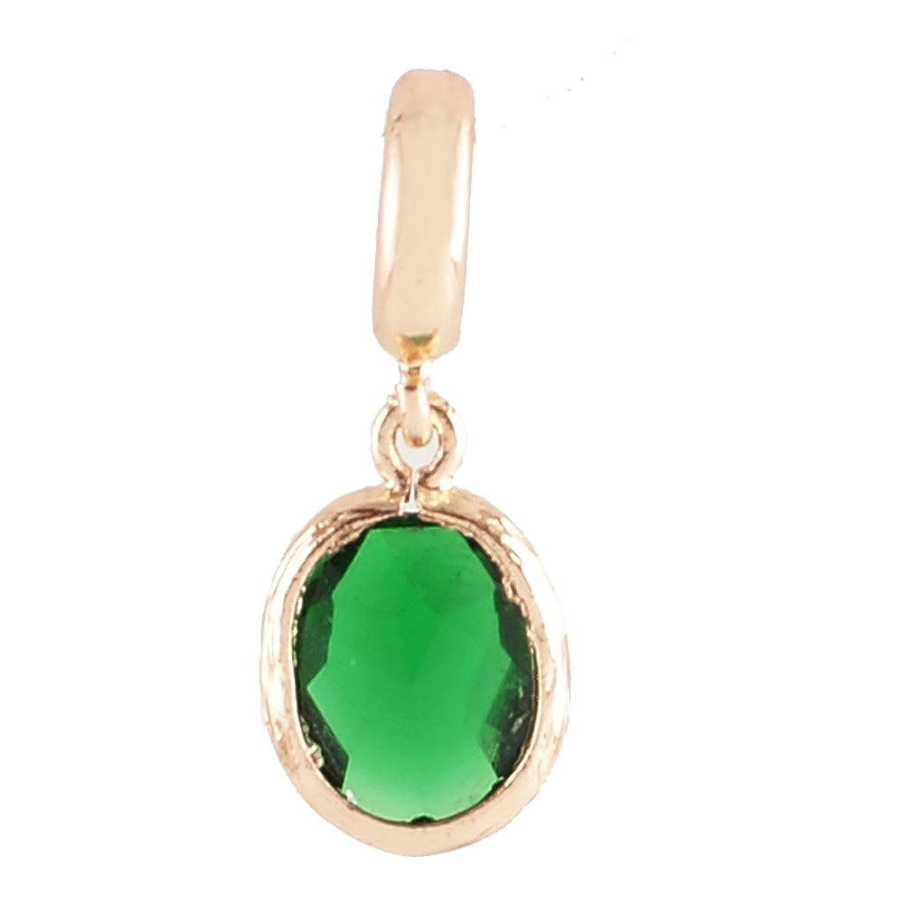 End Less Rhinestone Charms Drop - Gold Oval Cut Green