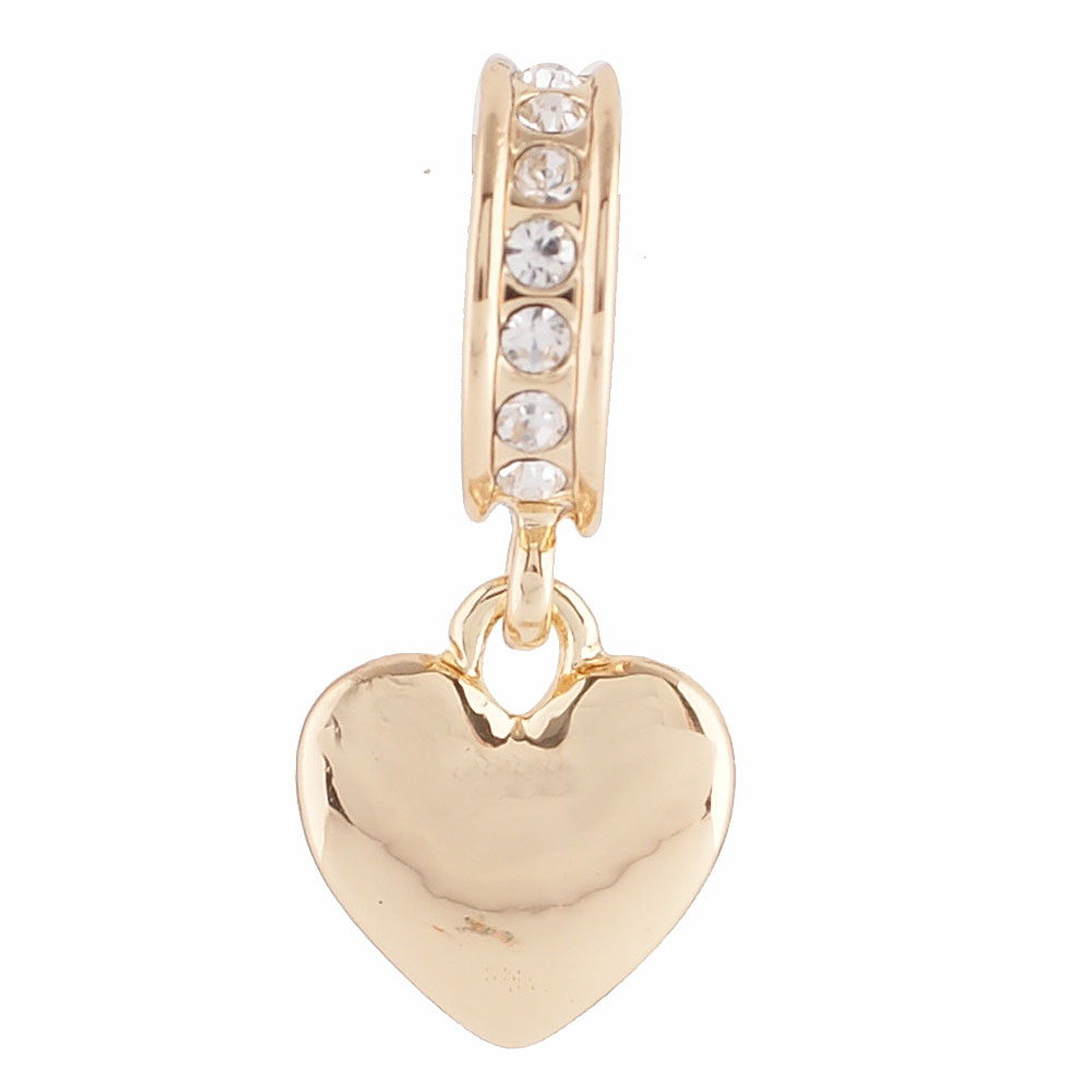 End less Rhinestone Charms Drops - Gold Hearts & Clear