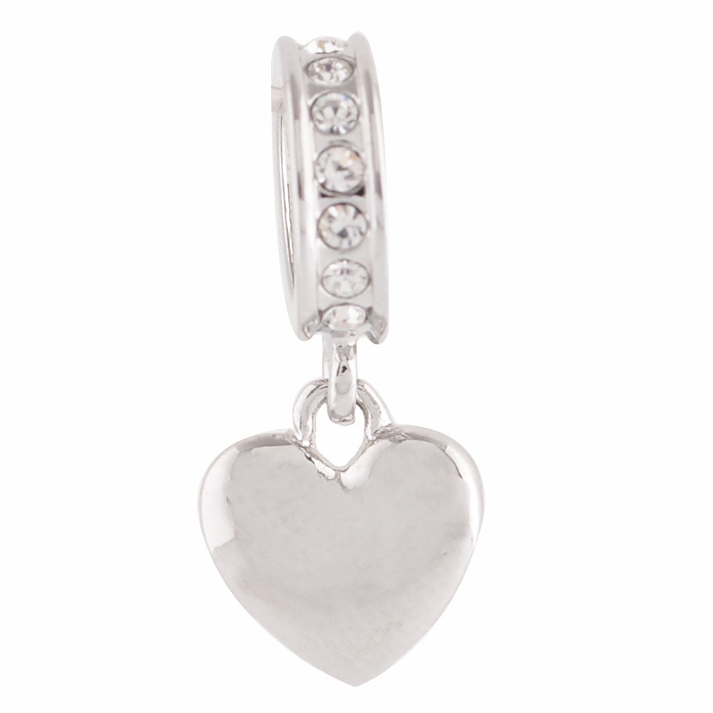 End less Rhinestone Charms Drops - Silver Hearts & Clear