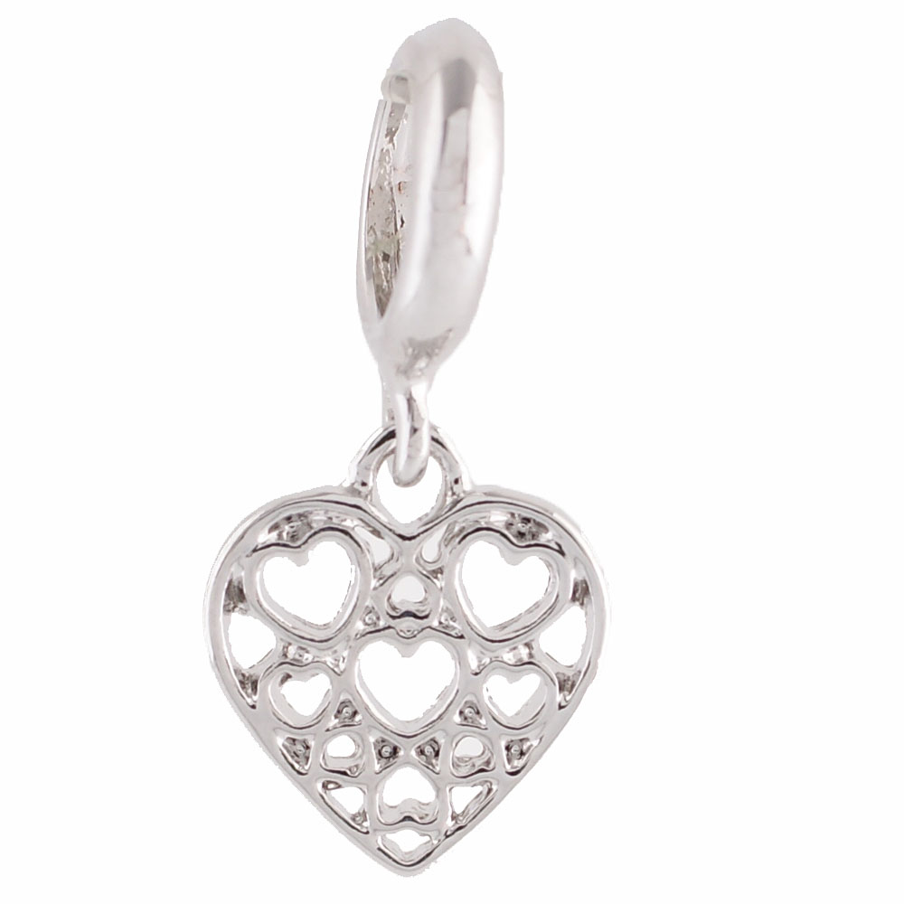 End Less Metal Charms Drop - Silver Hearts in Heart