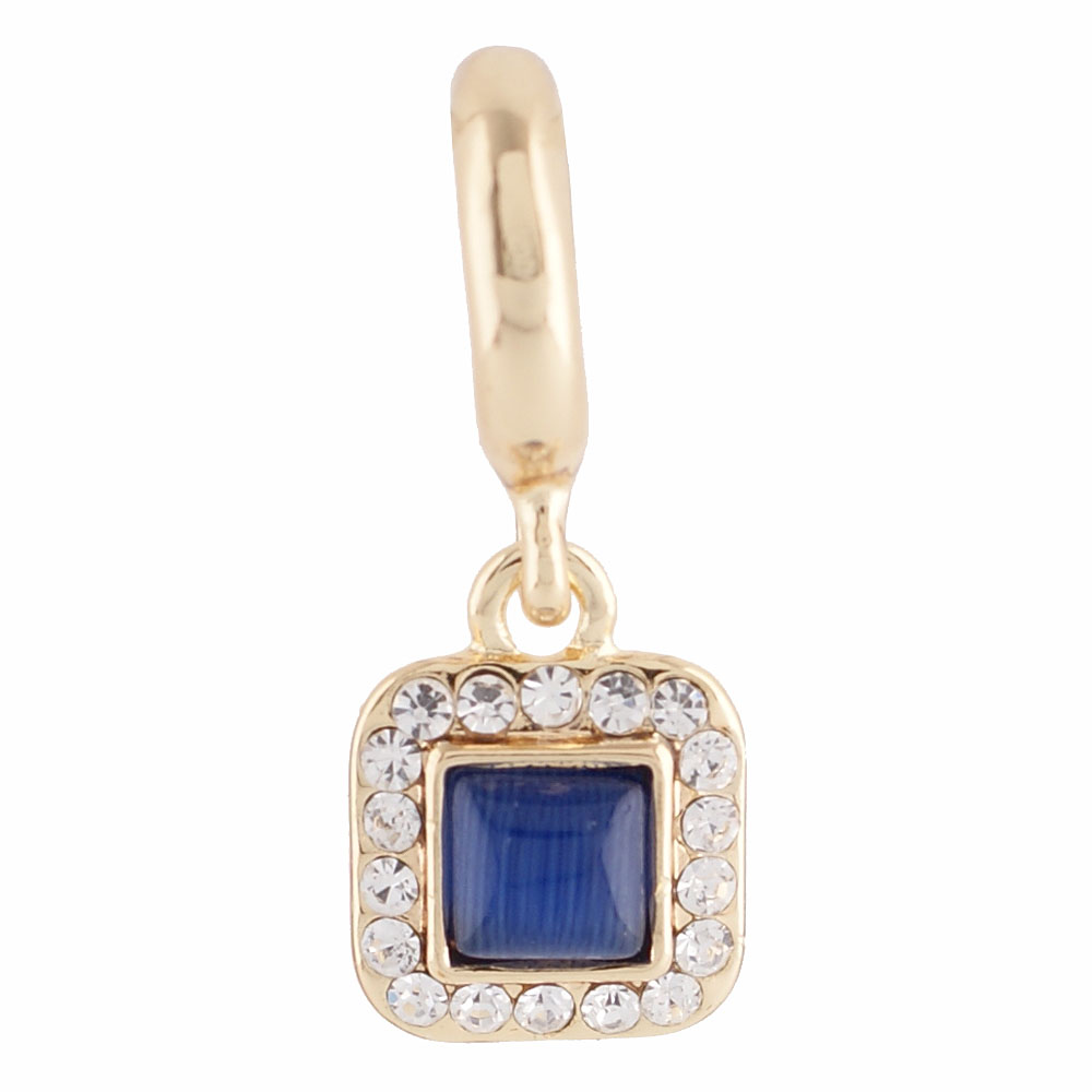 End Less Rhinestone Charms Drop - Square Blue Gold