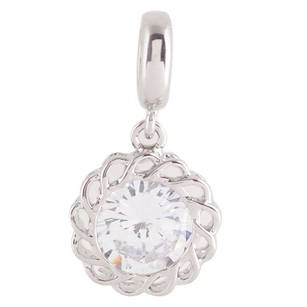 End Less Rhinestone Charms Drop - Silver