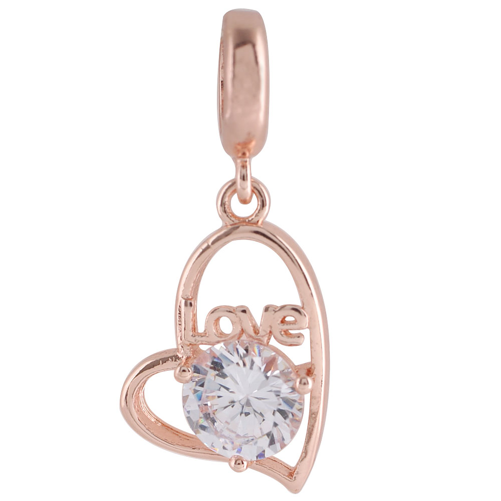 End Less Rhinestone Charms Drop- Love Heart Rose Gold