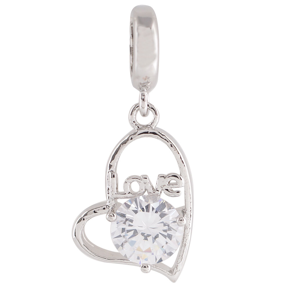 End Less Rhinestone Charms Drop- Love Heart