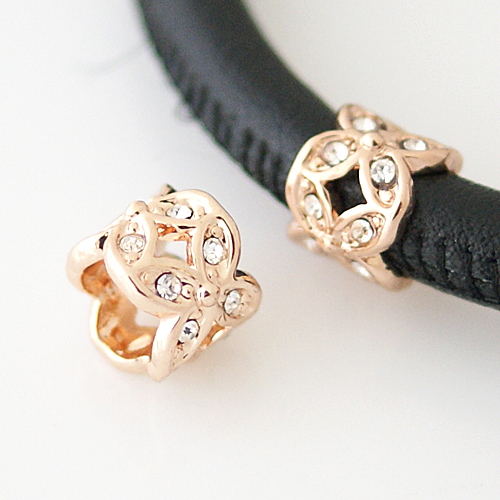 End Less Rhinestone Charms - Rose Gold Barrel Flower