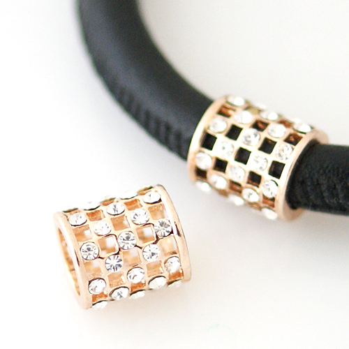 End Less Rhinestone Charms - Rose Gold Barrel Checkered