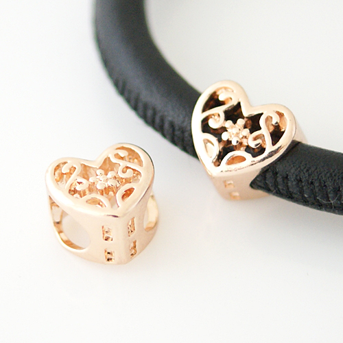 End Less Metal Charms - Rose Gold Flower Hearts