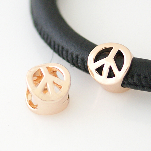 End Less Metal Charms - Rose Gold Peace Sign