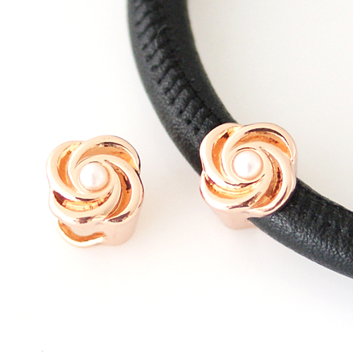 End Less Metal Charms - Rose Gold Pearl Swirl