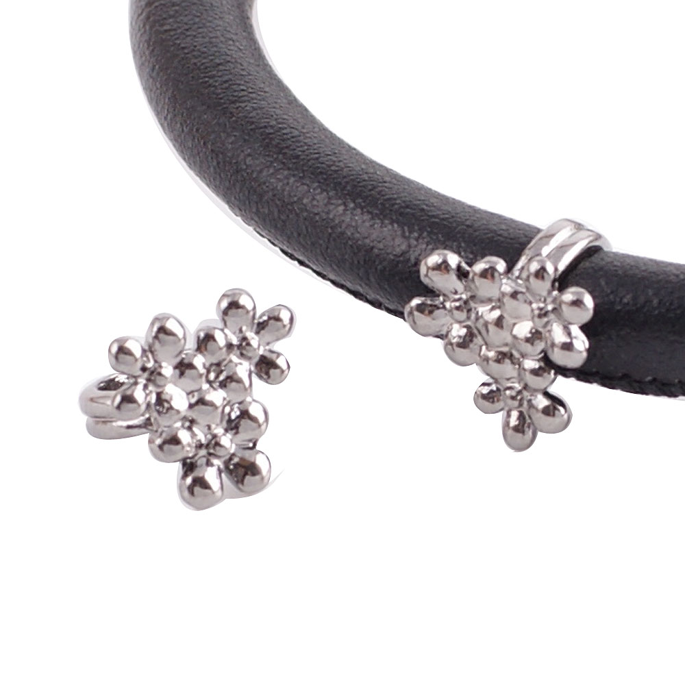 End Less Metal Charms - Pewter Black Tri Flower