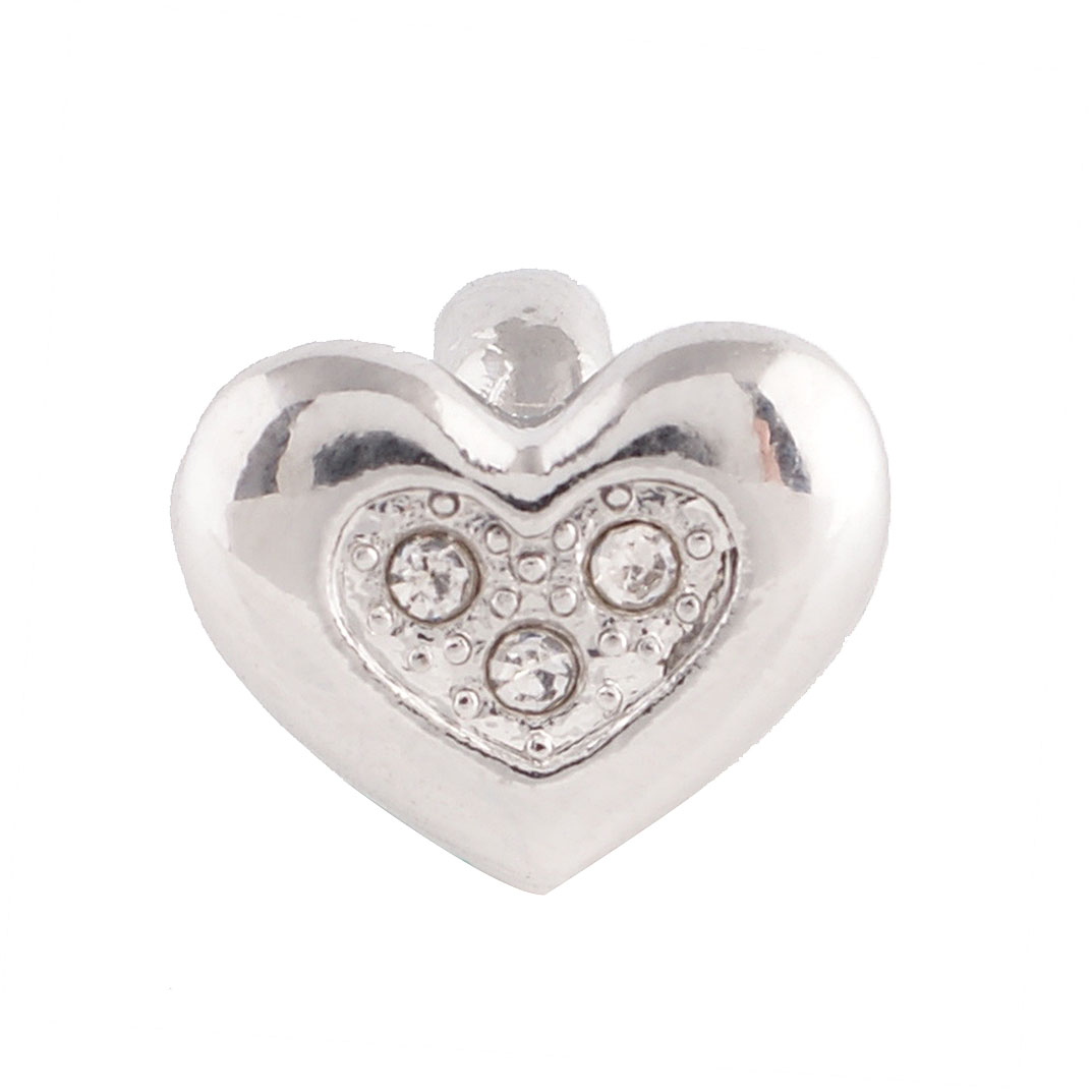 End Less Metal Charms - Silver Heart Clear