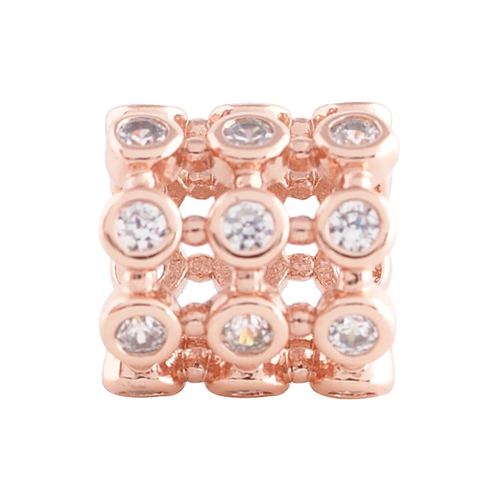 End Less Metal Charms - Rose Gold Barrel Clear Gems All Around