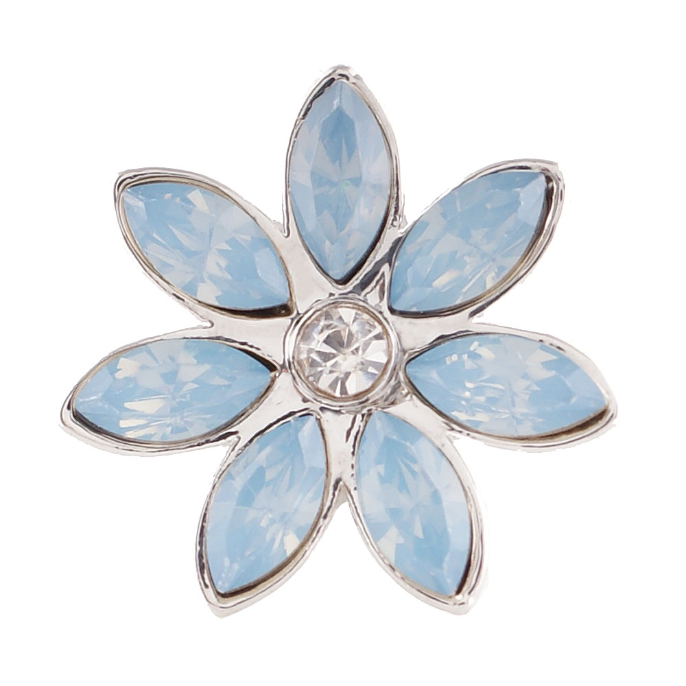 End Less Rhinestone Charms - Silver Flower Light Blue