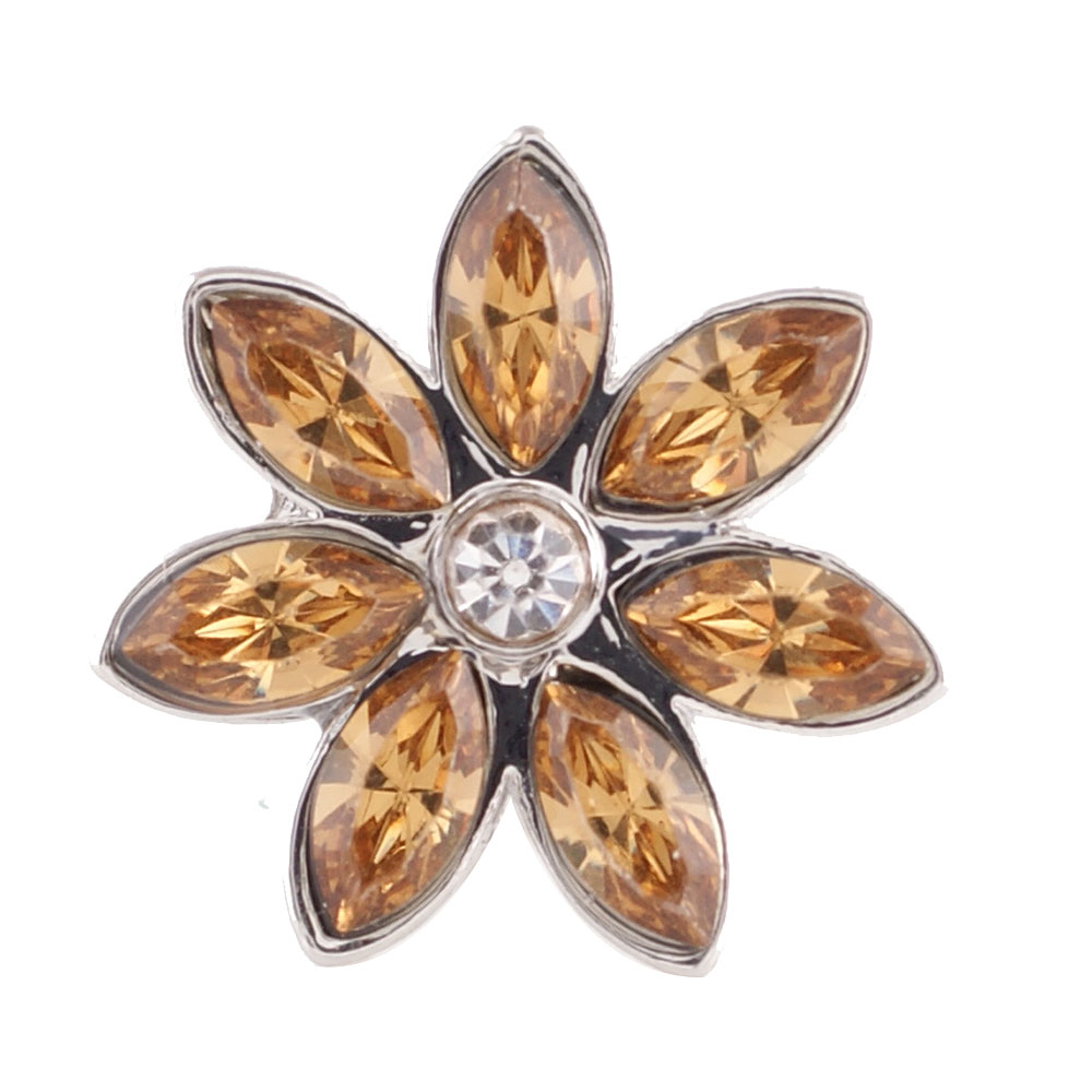 End Less Rhinestone Charms - Silver Flower Brown