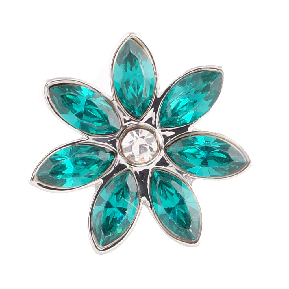 End Less Rhinestone Charms - Silver Flower Teal Green