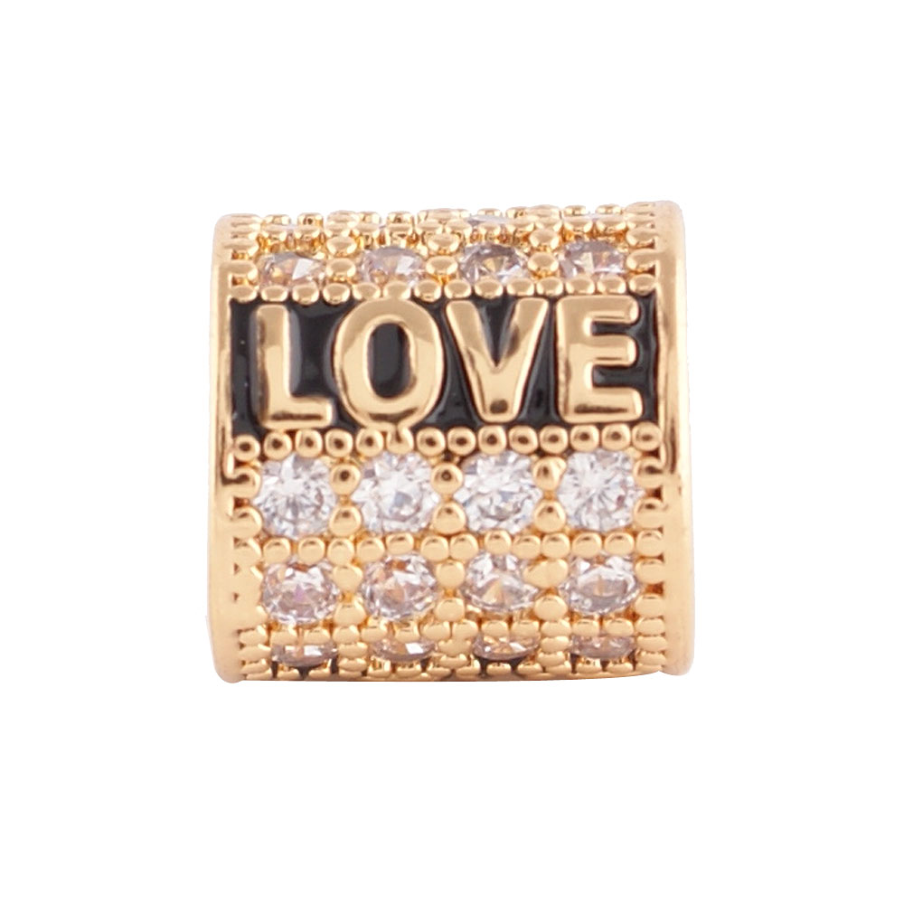 End Less Rhinestone Charms - Gold Script Love Clear
