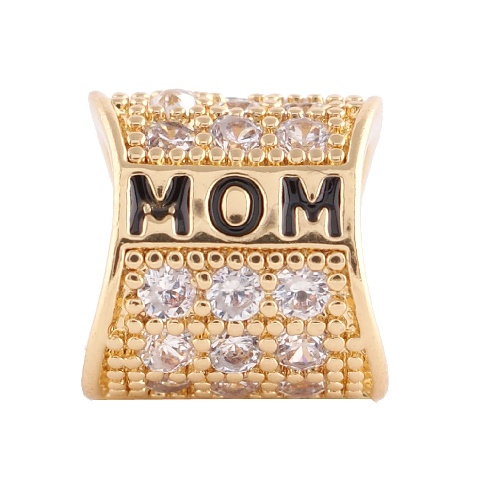 End Less Rhinestone Charms - Gold Script Mom Clear