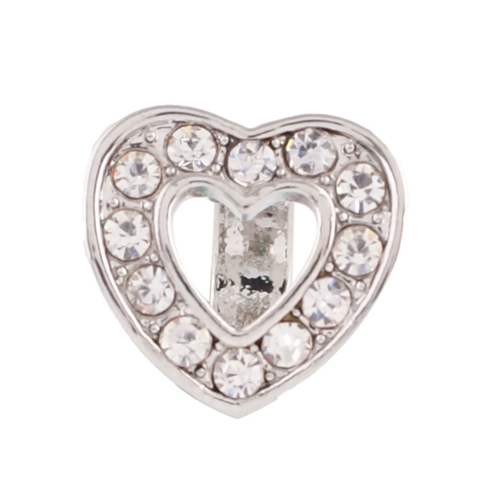 End Less Rhinestone Charms - Silver Open Heart