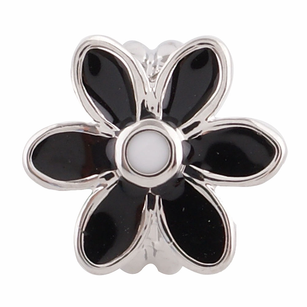 End Less Enamel Charms - Silver Flower Black & White