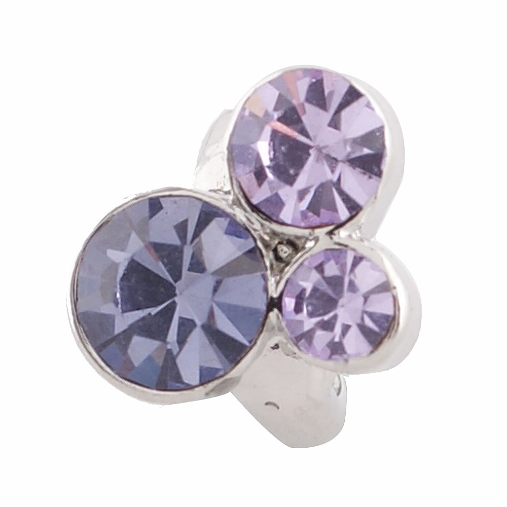 End Less Rhinestone Charms - Silver Blossom Cluster Purple