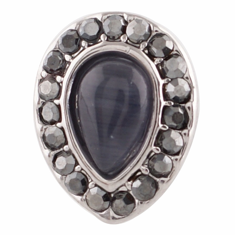 End Less Cat's Eye Charms - Pewter Teardrop Black