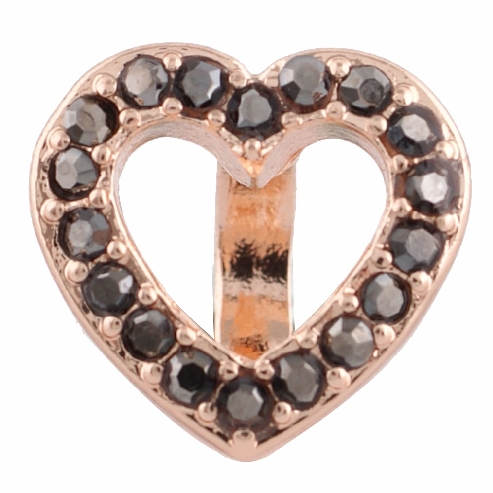 End Less Rhinestone Charms - Rose Gold Pewter Open Heart