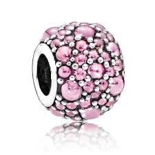 Charm 925 - Silver Shimmering Droplets Pink