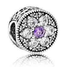 Charm 925 - Silver Forget Me Not Purple & Clear