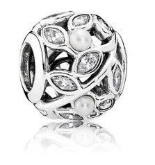 Charm 925 - Silver Luminous Leaves White Pearl & Clear