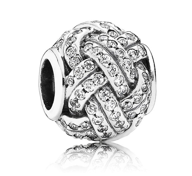 Charm 925 - Silver Love Knot Clear CZ