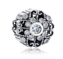 Charm 925 - Silver Scroll Crystallized Floral Clear CZ