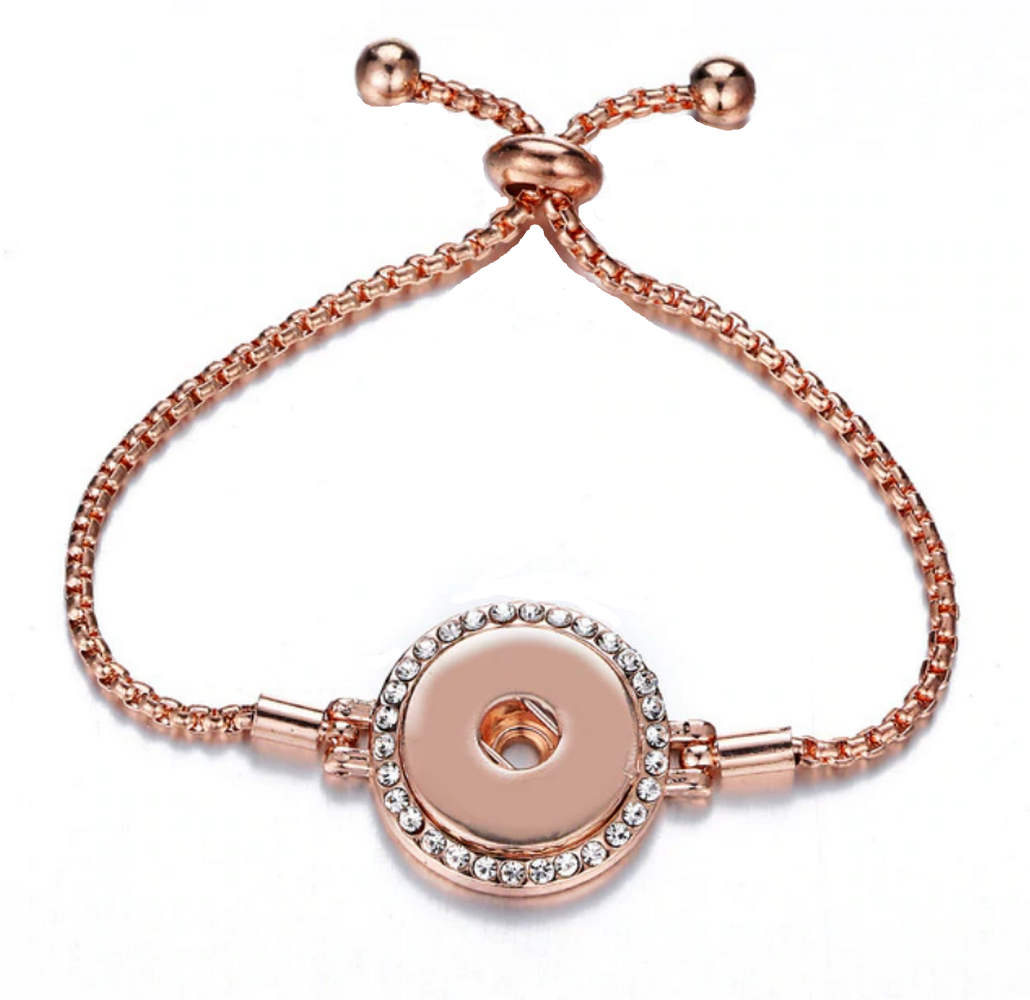 Snap Jewelry Adjustable Slider Bracelet - Rose Gold-Tone Halo