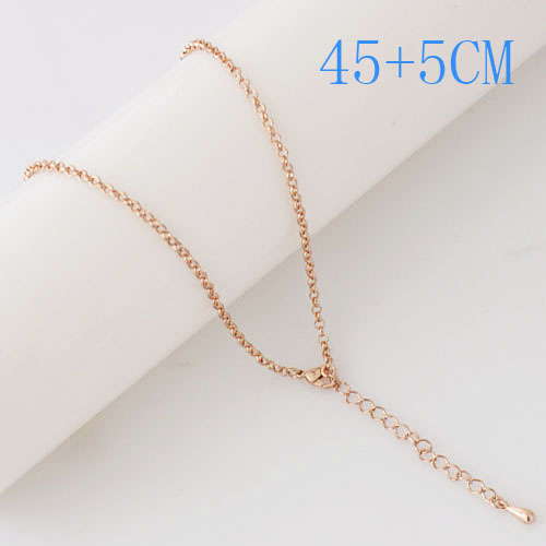 "Snap Jewelry Fashion Rose Gold Oval Link Chain - 18"" + Extender"