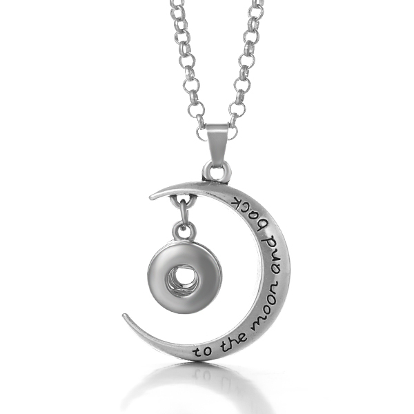 Mini 12mm Snap Stainless Necklace - I Love to Moon & Back