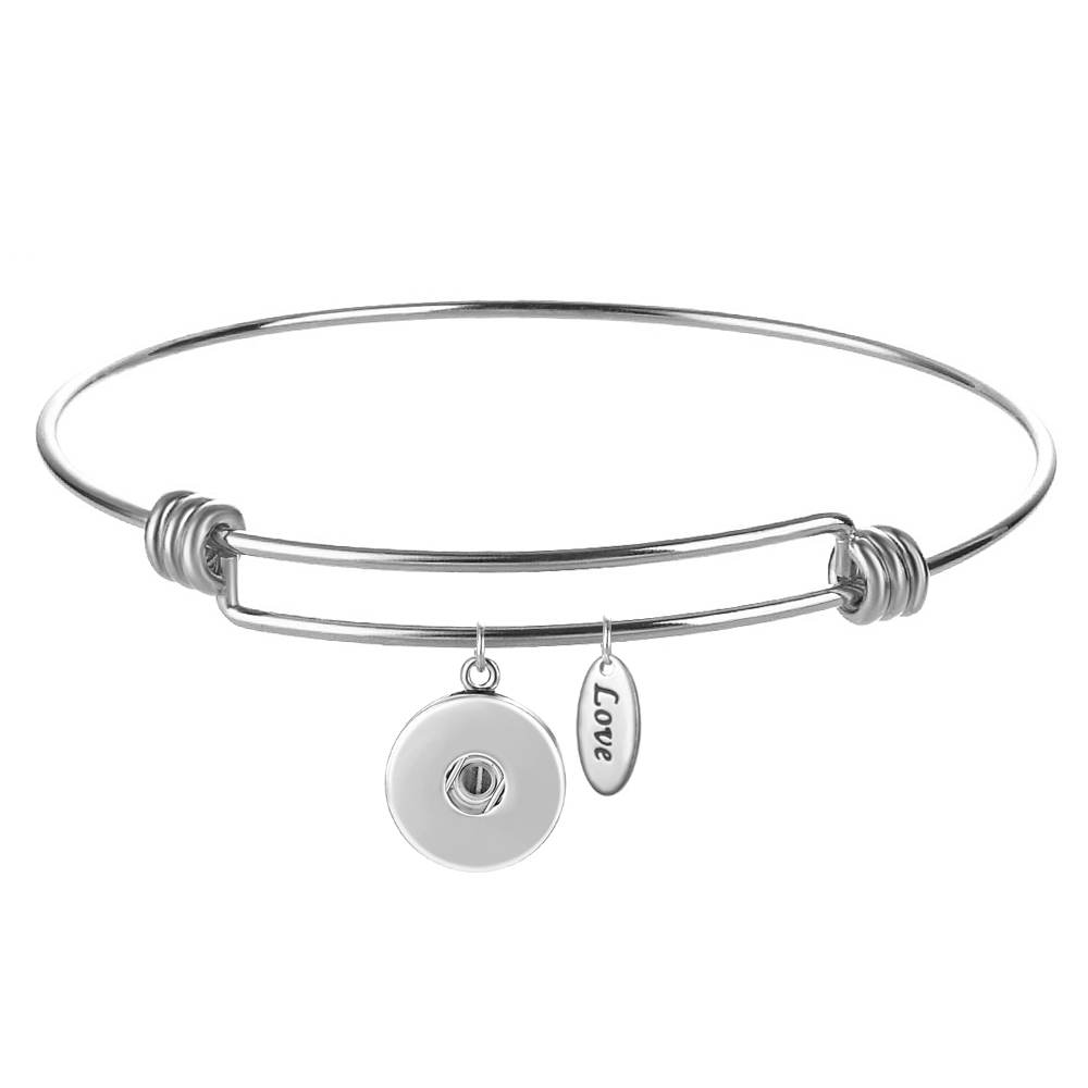 Snap Jewelry Bracelet Alex & Ani Inspired - Stainless & Love Tag