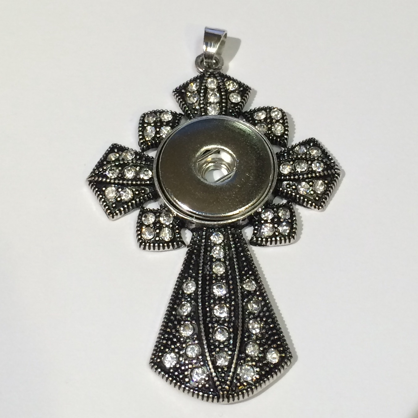 Snap Jewelry Pendant - Scalloped Cross