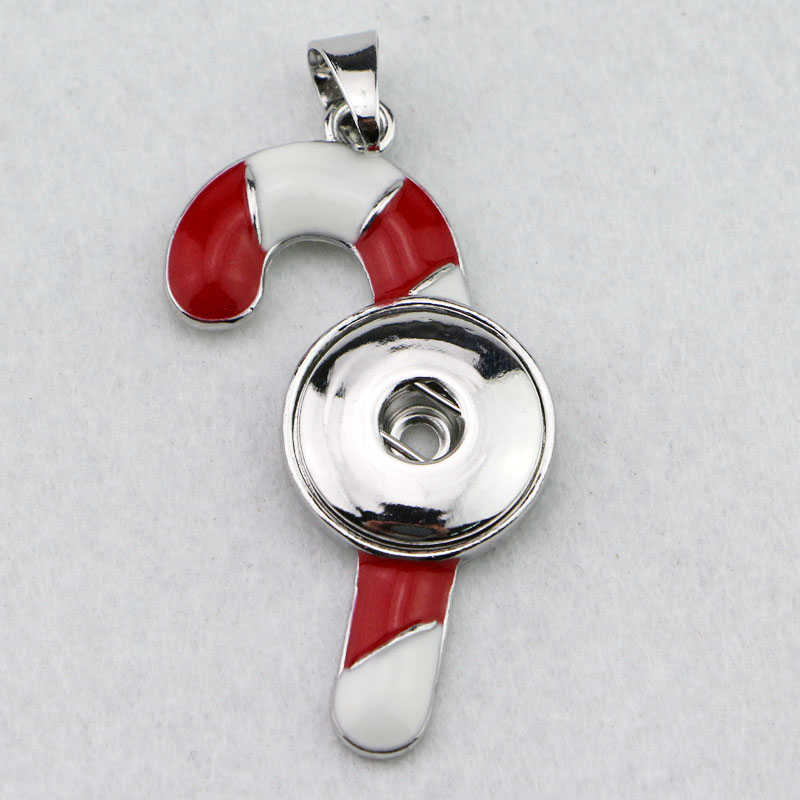 Snap Jewelry Pendant - Candy Cane Christmas