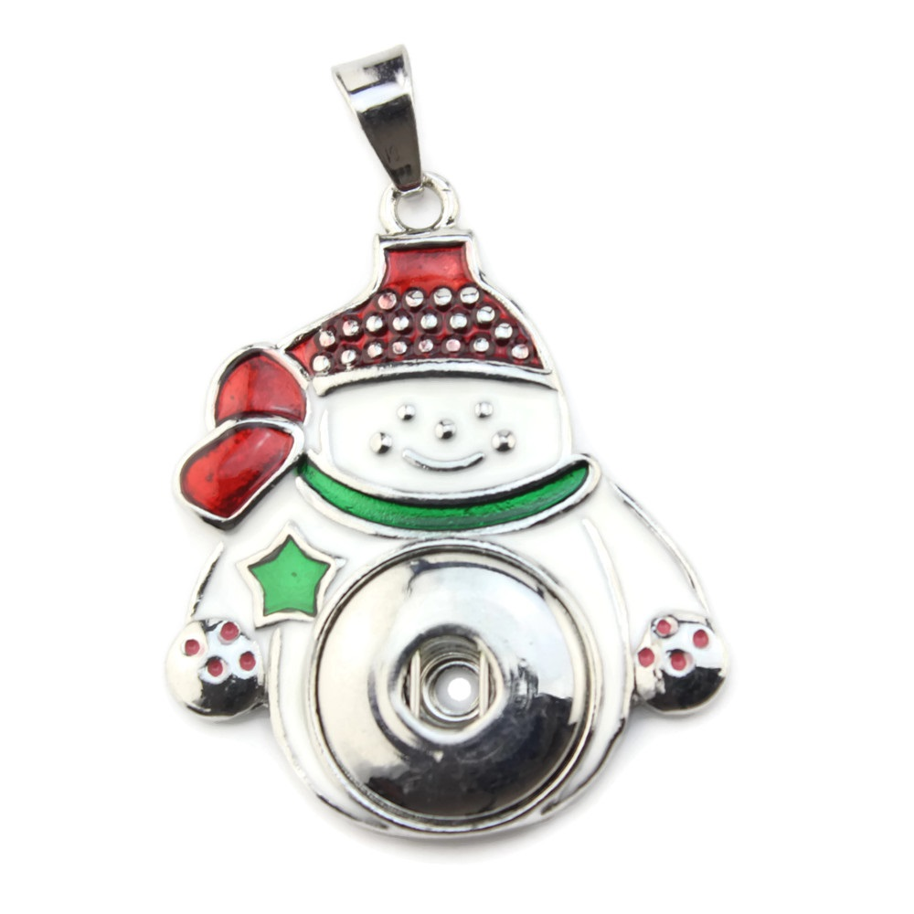 Snap jewelry Pendant - Snowman Christmas Enamel Colored