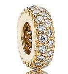 Charm 925 - Gold Spacer Clear CZ