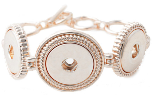 Snap Jewelry Toggle Bracelet Chain Strands - Triple Rose Gold