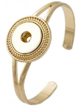 Snap Jewelry Cuff Bangle Curved Designer - Gold