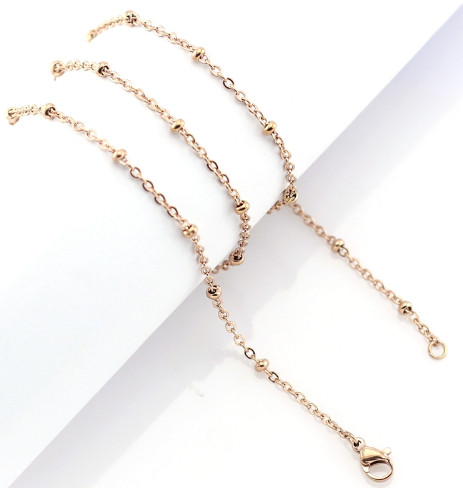 "Stainless Steel Ball Station Cable Chain - 24"" Rose Gold"