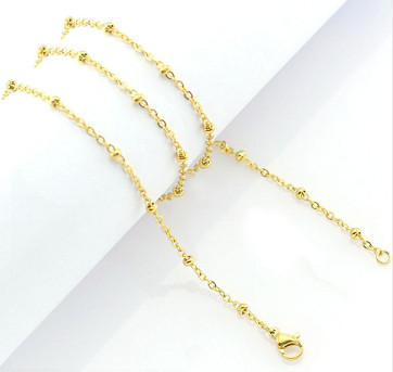 "Stainless Steel Ball Station Cable Chain - 24"" Gold"