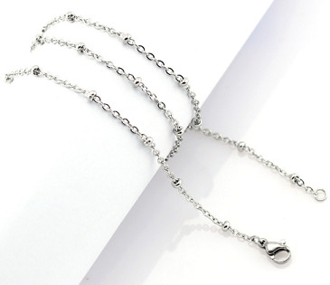 "Stainless Steel Ball Station Cable Chain - 20"" Silver"