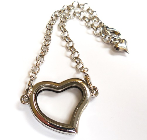 Bracelet Heart Fashion Locket- 22CM Silver & CZ Accents Medium