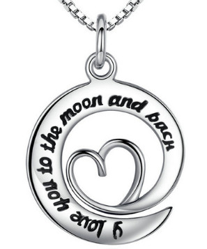 925 Sterling Silver I Love You To The Moon & Back Heart
