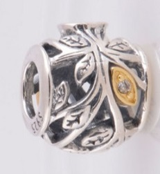 Charm 925 - Tumbling Leaves Silver & Gold